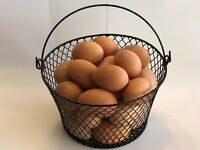 WIRE CHICKEN EGG BASKET... FOR GATHERING EGGS ...POULTRY... Round...Black..