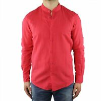 Camicia Uomo Collo Coreana Lino Slim Fit Manica Lunga Estiva Sartoriale Corallo