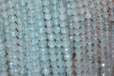 "Natural 4mm Faceted Light Blue Aquamarine Round Gemstone Loose Beads 15"""