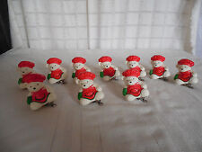 Dept 56 ceramic white bears w/red hats Christmas ornaments, tree clips 10pc