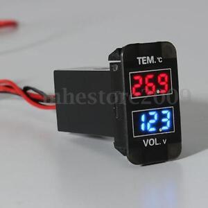 LED Digital Voltmeter Temperature Voltage Temp Gauge For Toyota FJ Land   /