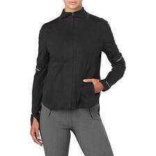 Asics женские Лучшая куртка для бега топ черный Спорт полная молния водонепроницаемая ветрозащитная