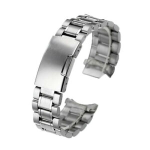 Stainless Steel Solid Links Watch Band Strap Bracelet Curved End 18 20 22 24mm