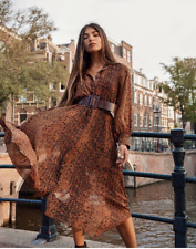 H&M CONSCIOUS A/W 2019 CHIFFON PATTERNED DRESS BLOGGERS UK 14 EUR 42 US 10