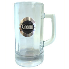 20304 GROOM 600ml GLASS STEIN BEER MUG WITH BADGE WEDDING TABLE BRIDAL PARTY