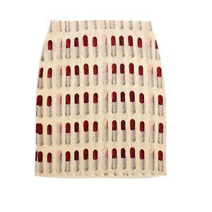 Prada Skirt Cream Lipstick Print S/S 2000 UK Size 8