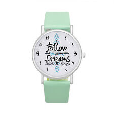 Womens Watch Ladies Follow Stainless Steel Case Faux Leather Band Wrist Watches