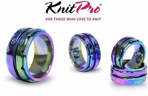 KnitPro Row Counter Ring Jewellery Knit Tally Register - 4 Sizes - Rainbow Metal