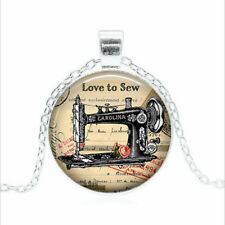 Love to Sew Tibet silver Glass dome Necklace chain Pendant Wholesale