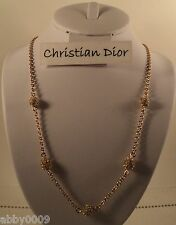 Christian Dior Gold Plate Necklace 5 pave balls made with Swarovski Crystals