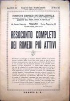 1925 RICETTARIO FARMACEUTIO PUBBLICITARIO ISTITUTO CHIMICO Prof. RIVALTA MILANO