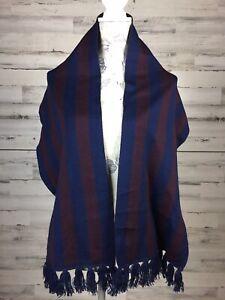 Nautica Scarf Merino Wool Stripe Blue Maroon Fringe Trim Made in Italy