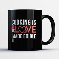 Chef Coffee Mug - Love Made Edible - Funny 11 oz Black Ceramic Tea Cup - Cute an