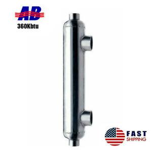 "Pool Heat Exchanger 360 kBtu Stainless Steel 316L Same Side Ports 2"" &1 1/2"" FPT"