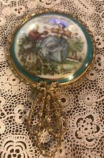 Vintage Hand Painted Porcelain Vanity Mirror With Gilt Frame