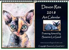 Devon Rex cat art calendar 2018 from original painting design by Suzanne Le Good