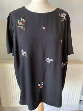 Dorothy Perkins Black Flower Floral Embroidered Short Sleeve Blouse Top Size 18