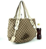 Auth GUCCI GG Monogram Canvas & Leather Tote Hand Shoulder Bag Italy Medium Used