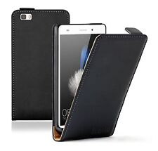 Huawei P8 Lite (2015) Ultra Slim BLACK Leather Flip Case Cover Pouch