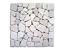 Mosaico In Pietra Naturale Bianco Cm. 30X30 Piastrella Supporto In Rete Muratura