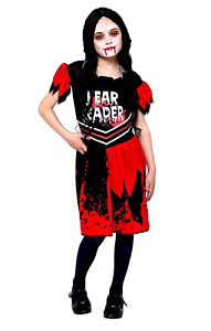 Childs Halloween Fancy Dress Zombie Cheerleader Costume Girls Outfit Kids Pompom