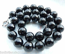 """Faceted 10mm Black Agate Onyx Round Gemstone Beads Necklace 18"""" AA"""