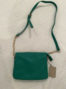Accessorize Green Cross Body Zip Up Bag Gold Hardware