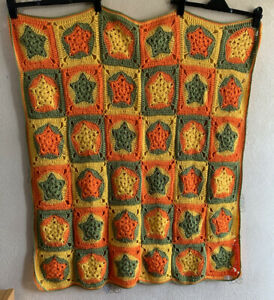 "Handmade Crochet Square Granny Blanket Throw 42"" X 38"" Star Camper Picnic Retro"
