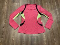 Women's Fila Sport Performance Long Sleeve V-Neck - Pink, Black, Green - Size M