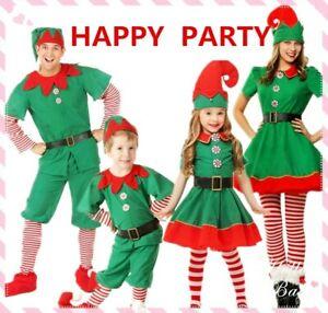 Kids Adult Elf Costume Christmas Fancy Dress Xmas Santa Helper Outfit Cosplay UK