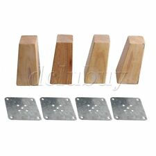4 x Wooden Square Furniture Feet Cabinets Legs Replacement 12CM