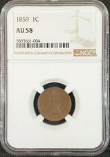 1859 Indian Head Cent NGC AU58 5893661-004 Exquisite Coin Rare
