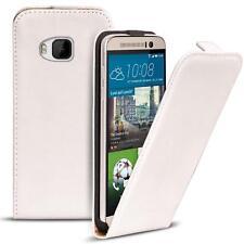 Flip Case HTC One M9 Hülle Pu Leder Klapphülle Handy Tasche Cover Weiss