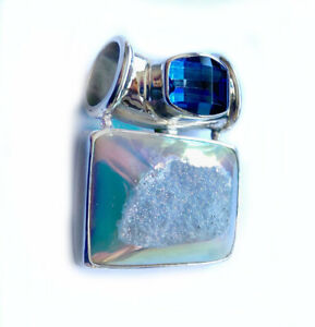 Offerings Sajen Sterling Silver Opalized Window Druzy & Neptune Topaz Pendant