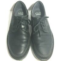 Mens Clarks Lace Up Ortholite Soft Cushion Black Leather Size 9 Casual Shoes