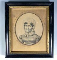 Antique French Portrait Miniature, Pencil Sketch, Drawing, Matron, Alph. GIROUX