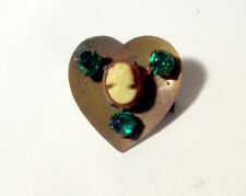 Vintage HEART Button w GREEN GEMS Pastes & CAMEO Woman's Head ~ Realistic