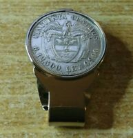 1934 COLOMBIA Proud Silver Coin Moneyclip Money Holder 32mm diameter, Stainless