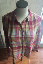 Holding Horses Anthropologie Size 4 Plaid Contrast Stripe Button Front Shirt