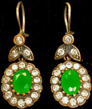 Antique 1920's Yellow Gold Filled Sterling  Emerald Drop Earrings