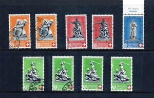 SWITZERLAND 1940, PRO PATRIA, 9 VALUES WITH VARIETY, MNT & VFU, (S87)