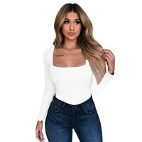 Tops Shirt Fashion Tight T-shirt Women Long Sleeve Ladies Solid Cool Summer
