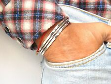 925 sterling silver handmade cuff bracelet men bangle solid classic heavy new