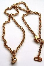 Christian Dior Signed Necklace Gold-Plated with Crystal & Pearl Moon Pendant