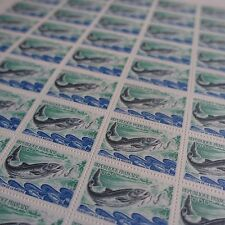 FEUILLE SHEET TIMBRE NATURE SAUMON POISSON N°1693 x50 1971 NEUF ** LUXE MNH