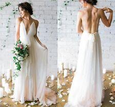 Ivory Spaghetti Straps Boho Wedding Dress V Neck Backless Beach Wedding Dresses