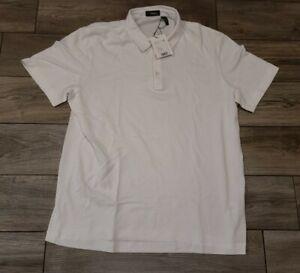 Theory Men's White Air Pique Bron B Regular Fit Short Sleeve Polo Shirt