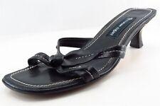 Etienne Aigner Slides Black Leather Women Shoes Size 8 Medium (B, M)