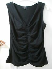 Alex Marie - Black V-neckline Scrunched Sleeveless Stretchy Knit Top  -  Size S