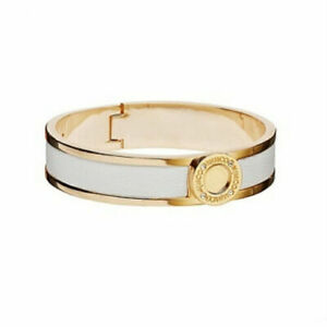 Mimco Narrow Hinged Cuff White with Gold Bracelet Bangle RRP $69.95 BNWT